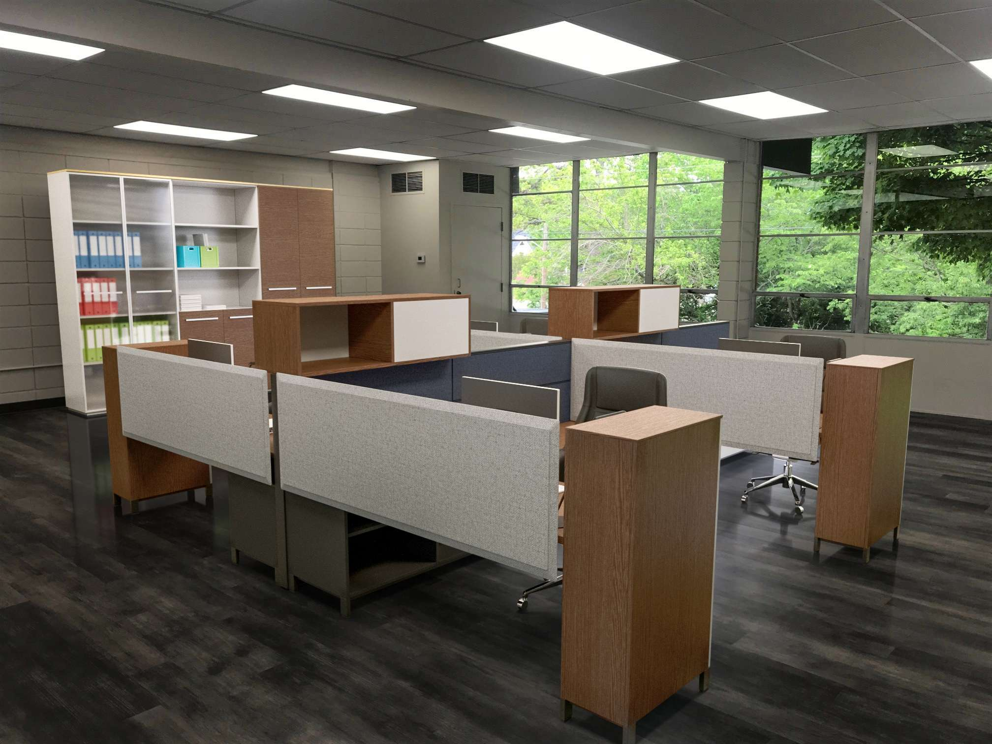 Business Center office with staged furniture