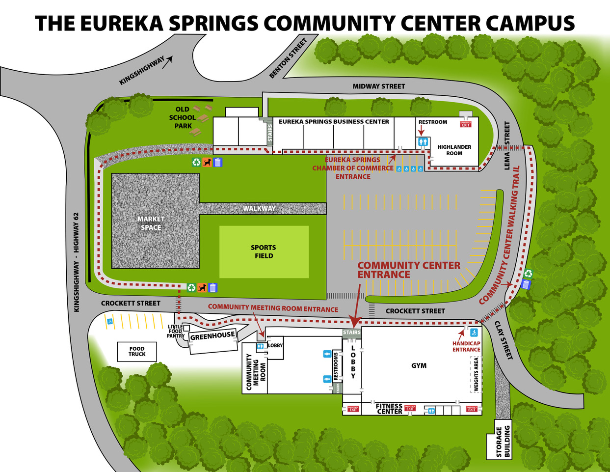 map of the layout of the community center campus