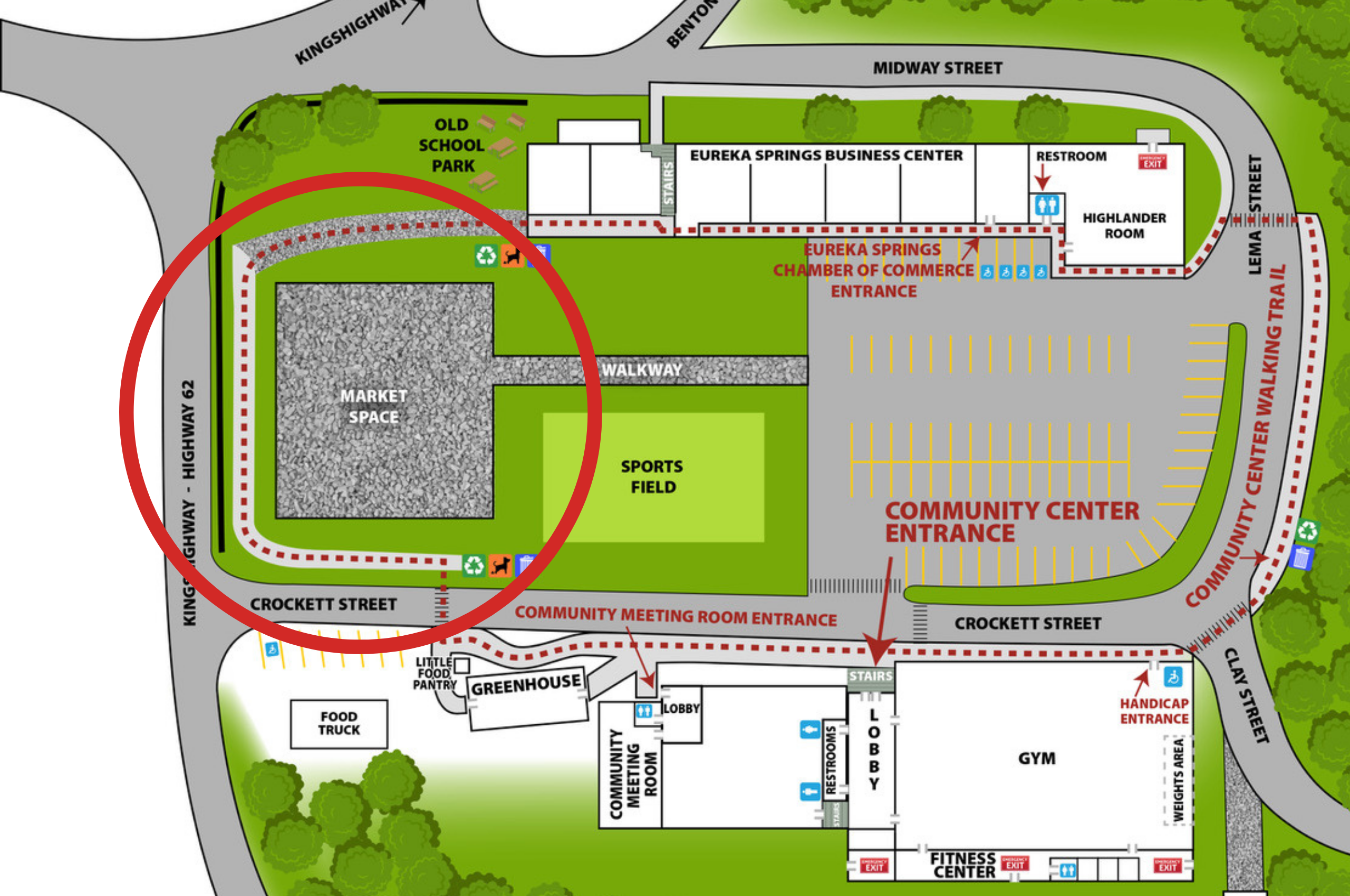 Campus Map with Market Space circled