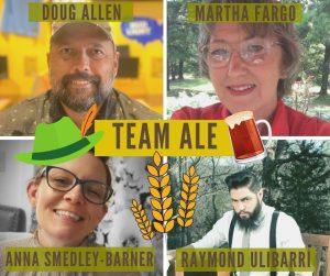photos of four smiling adults with beer mug cartoons