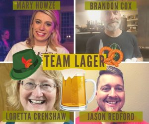 faces of four smiling adults with beer mug cartoons