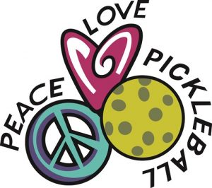 Peace Love Pickleball symbols